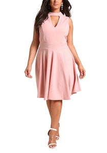 Curvy Cut Out Flared Dress - Superior Boutique