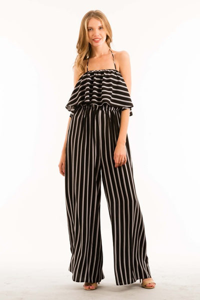 Halter Neck Ruffle Wide Leg Jumpsuit with Elastic Waist