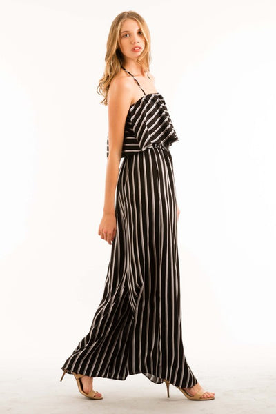 Halter Neck Ruffle Wide Leg Jumpsuit with Elastic Waist - Superior Boutique