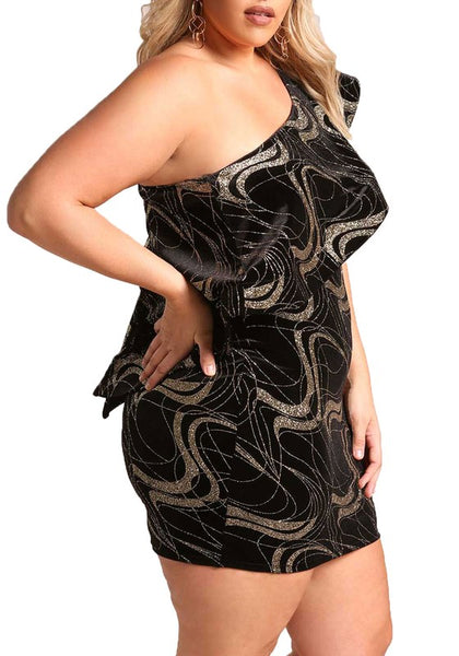 Curvy One Shoulder Velvet Sparkle Dress - Superior Boutique