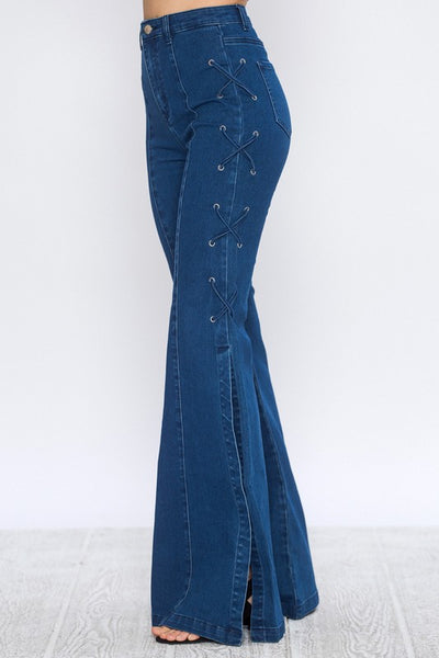Flared Denim Side-Lace Bell Bottom Pants - Superior Boutique