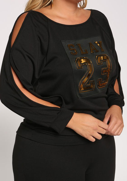 Curvy Slay Sleeve Slit Pullover Top - Superior Boutique