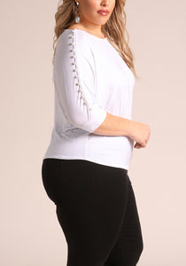Curvy Embellished Sleeve Top - Superior Boutique