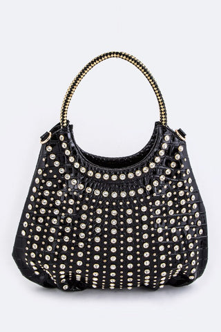 Crystal Studs Croc Embossed Statement Tote - Superior Boutique