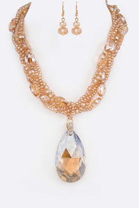 Tear-Dropping Necklace Set (Topaz)