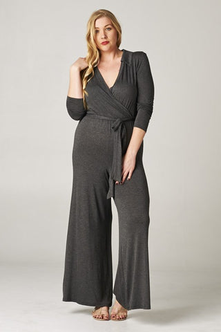 Curvy Solid Rayon Jumpsuit