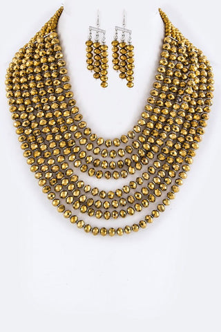 Shimmering Multi-Layered Beaded Necklace Set - Superior Boutique