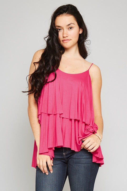 "Sleeveless Spaghetti Strap Round Neck Layered ""Double"" Ruffle Camisole Tunic Top"