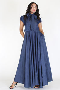 Denim A-Line Dress With Mock Neck