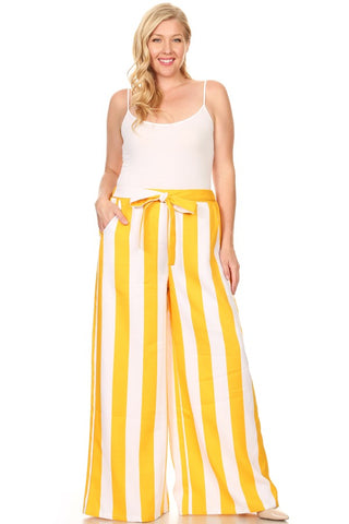 Curvy Striped High Waisted Wide Leg Pants - Superior Boutique