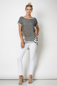 Short Sleeve Round Neck Raglan Cut Top W/Reverse Coverstitch And Laser Cut Detailing - Superior Boutique