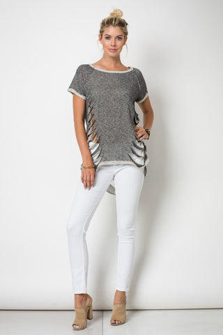Short Sleeve Round Neck Raglan Cut Top W/Reverse Coverstitch And Laser Cut Detailing