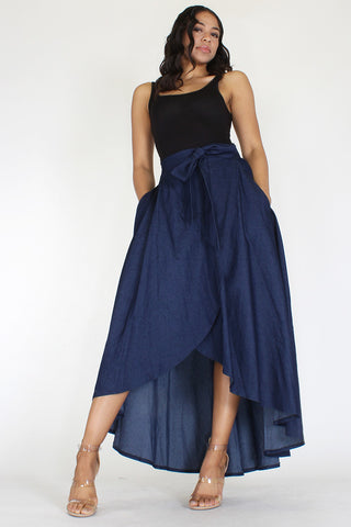 Denim High Waisted Maxi Skirt - Superior Boutique