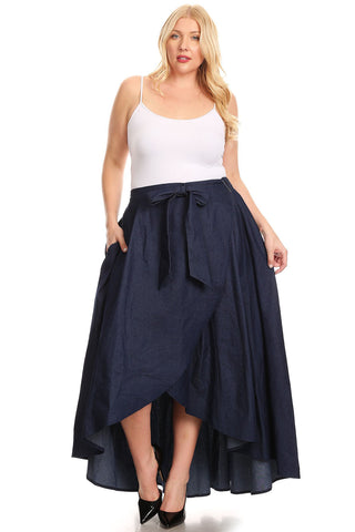 Curvy Denim High Waisted Maxi Skirt