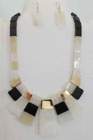 Block Necklace Set - WHITE