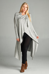Curvy Long Draped Cardigan - Superior Boutique