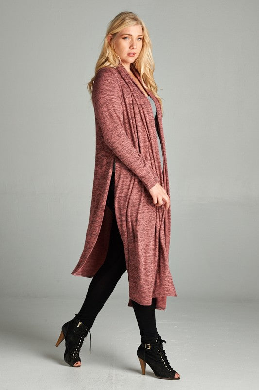 Curvy Low High Open Front Drape Cardigan - Superior Boutique