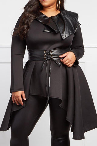Curvy Dressed-To-Kill Belted Peplum Top