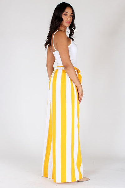 Striped High Waisted Wide Leg Pants - Superior Boutique