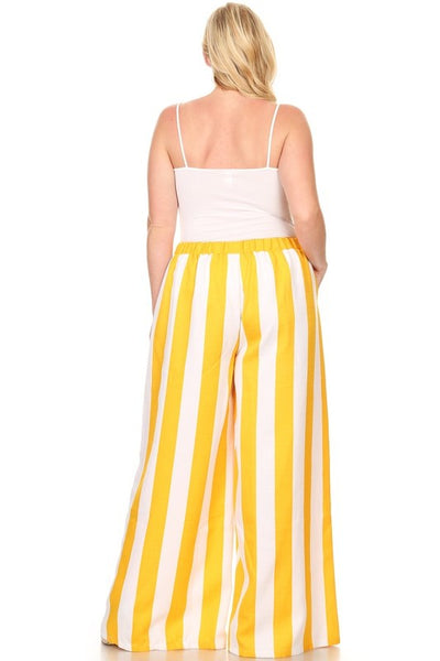 Curvy Striped High Waisted Wide Leg Pants