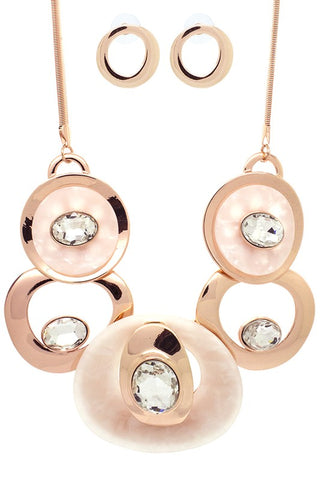 Sassy Hoops Necklace Set - ROSE GOLD
