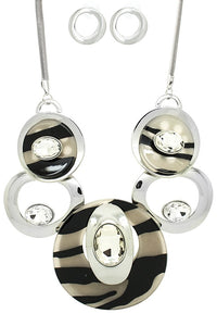 Sassy Hoops Necklace Set - ZEBRA