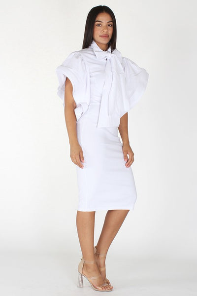 Solid Short Sleeve Midi Dress