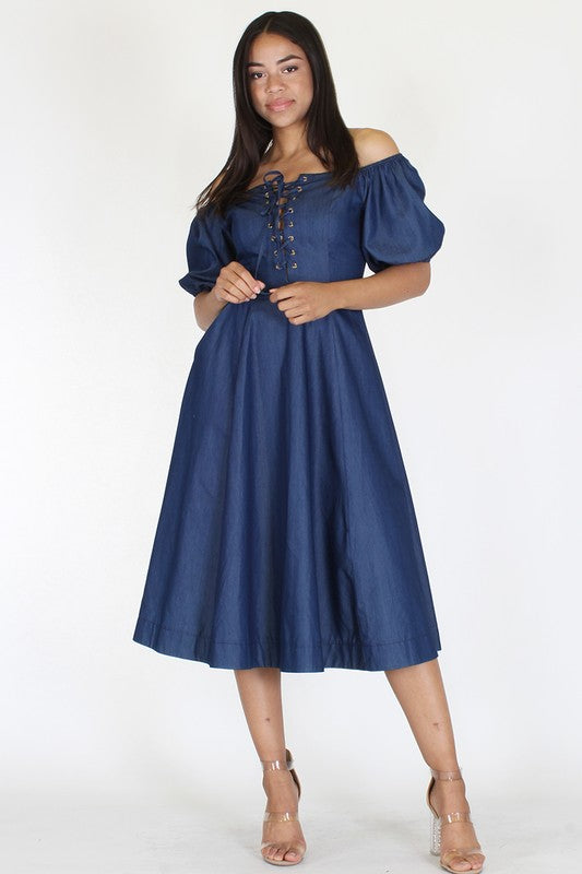 Final Sale Denim Off Shoulder Midi Dress