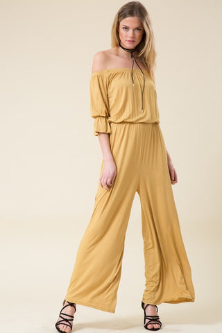 Final Sale Off Shoulder Solid Wide Leg Jumpsuit