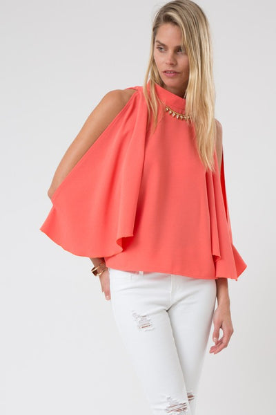 3/4 Sleeve Cold Shoulder High Neck Batwing Top - Superior Boutique