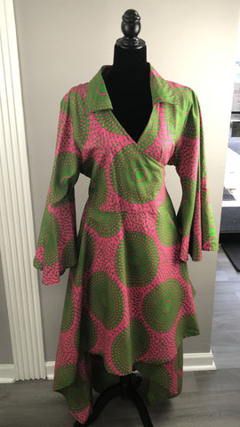 Pink/Green Print Wrap Dress