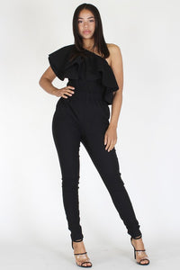Solid One Shoulder Jumpsuit - Superior Boutique