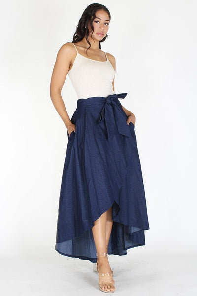 Denim High Waisted Maxi Skirt