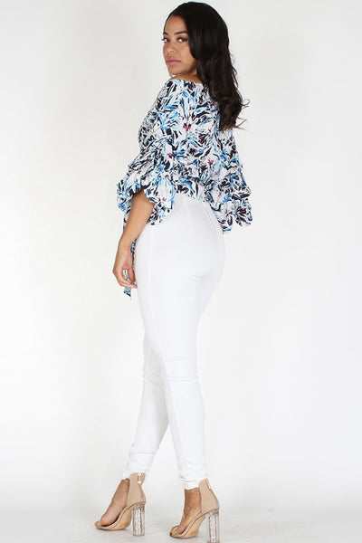Abstract Floral Printed Wrap Off Shoulder Top