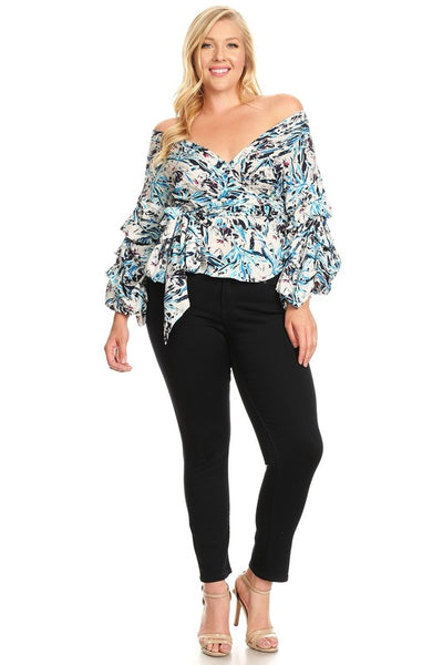 Curvy Abstract Floral Printed Wrap Off Shoulder Top - Superior Boutique