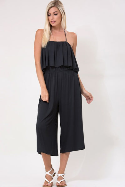 Sleeveless Spaghetti Strap Halter Tie Back Gathered Waist Ruffle Culotte Pant Jumpsuit - Superior Boutique