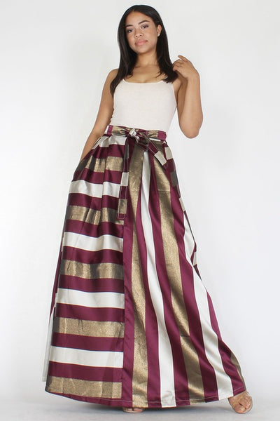 Metallic Stripe Taffeta A-line Maxi Skirt - Superior Boutique