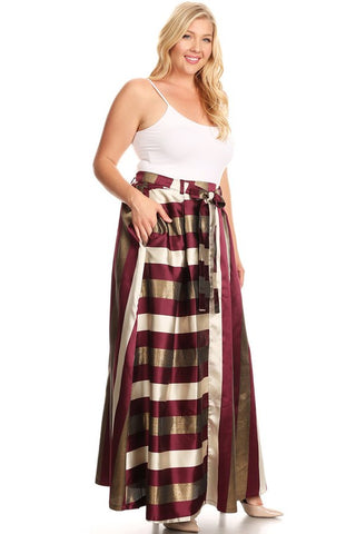 Curvy Metallic Stripe Taffeta A-line Maxi Skirt - Superior Boutique