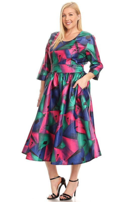 Final Sale Curvy Multicolore Geometric Printed Maxi Dress