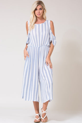 Cold Shoulder Striped Culotte Jumpsuit with Pockets - Superior Boutique