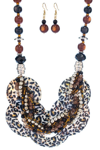 Animal Print Necklace Set