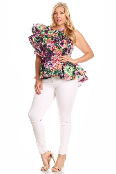 Curvy Abstract Floral Printed Peplum Top