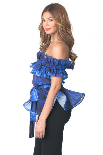 Final Sale Peplum Style Ruffle Off Shoulder Top - Superior Boutique