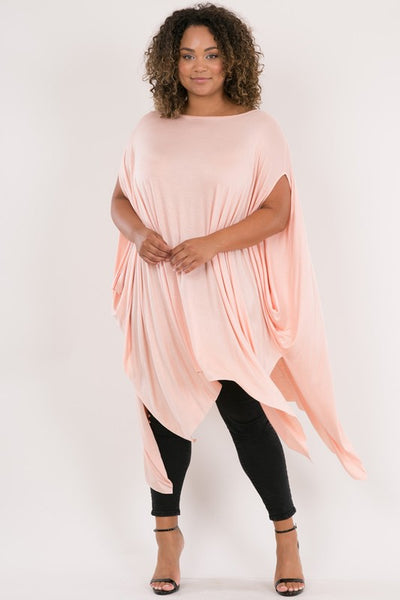 Final Sale Curvy Oversized Handkerchief Hem Poncho Top