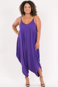 Curvy Spaghetti String Strap Low Back Dropped Crotch Harem Jumpsuit