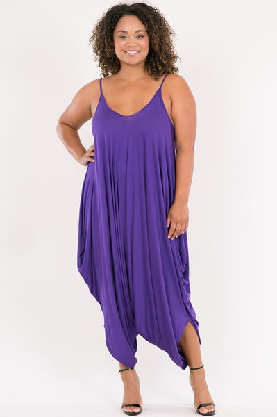Curvy Spaghetti String Strap Low Back Dropped Crotch Harem Jumpsuit - Superior Boutique