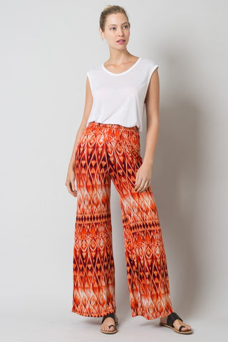 Final Sale Full Length Tribal Tie Dye Print Wide Leg Pants - Superior Boutique