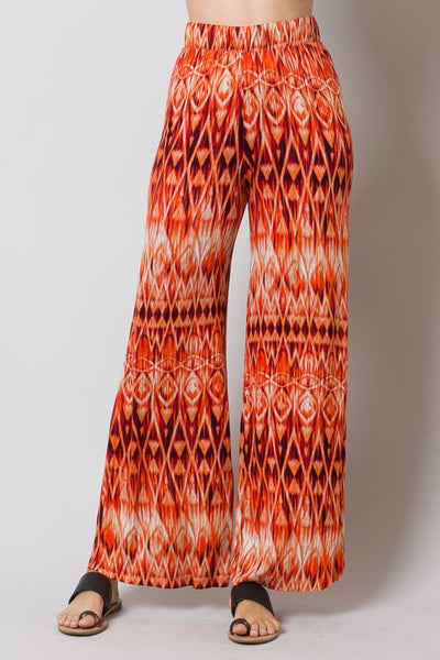 Final Sale Full Length Tribal Tie Dye Print Wide Leg Pants