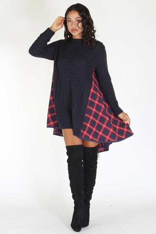 Sexy Plaided Sweater Dress - Superior Boutique