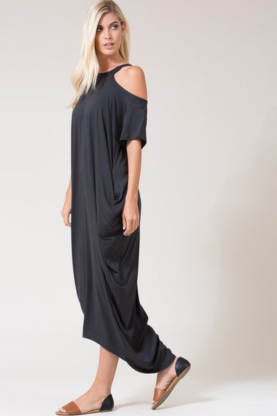 Short Sleeve Cold Shoulder High Low Maxi Dress - Superior Boutique